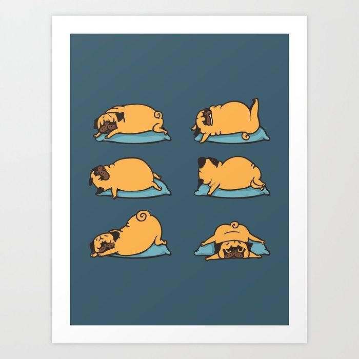Pug Yoga for Better Sleep Art Print