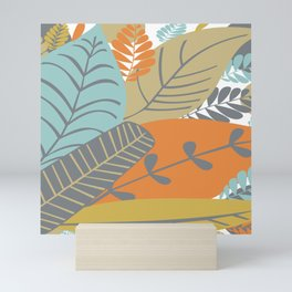 Bright Tropical Leaf Retro Mid Century Modern Mini Art Print