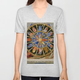 "Fra Angelico (Guido di Pietro) ""The Mystical Wheel (The Vision of Ezekiel)"" Unisex V-Neck"