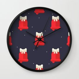 Red Christmas Bell Pattern Wall Clock