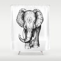 ornate elephant Shower Curtains featuring Ornate elephant by Creadoorm