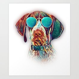 German Shorthaired Pointer Colorful Neon Dog Sunglasses Art Print