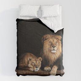 Portrait of Lion Family on dark background - vintage nature photo Comforters