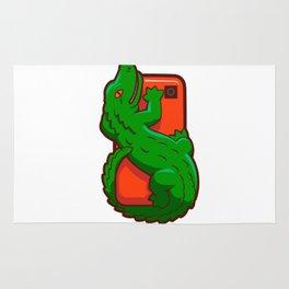 Cartoon crocodile on a cell phone Rug