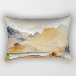 Cinnabar Mountain Yellowstone River Watercolour 1871 By Thomas Moran | Watercolor Reproduction Rectangular Pillow
