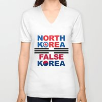korea V-neck T-shirts featuring North Korea by pollylitical