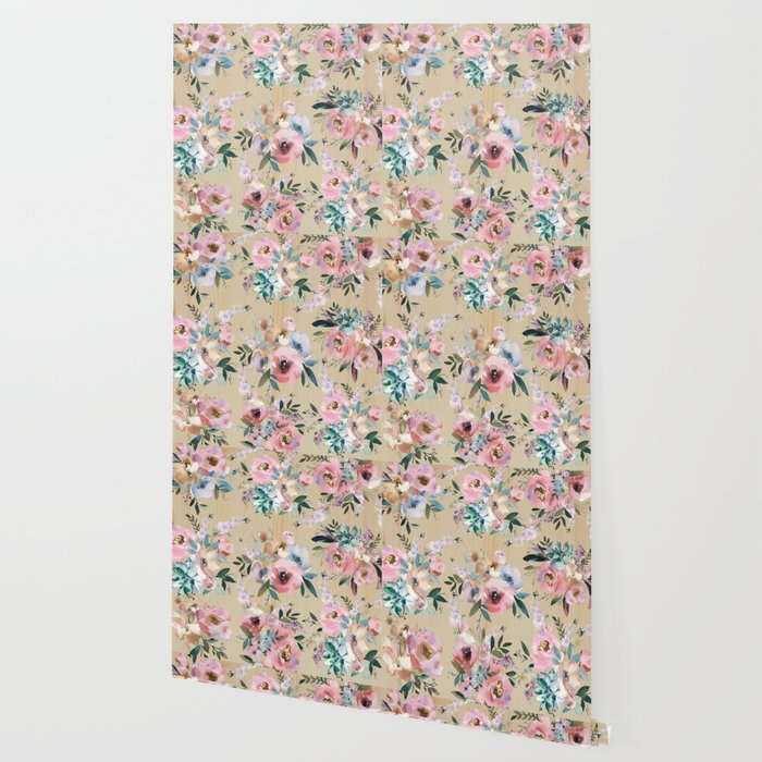 Pastel Pink Teal Green Watercolor Pine Wood Floral Wallpaper