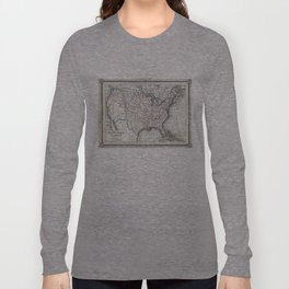 Vintage United States Gold Rush Regions Map (1852) Long Sleeve T-shirt