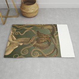 """""""Mermaid & Octopus No. 4"""" by David Delamare (No Border) Rug"""