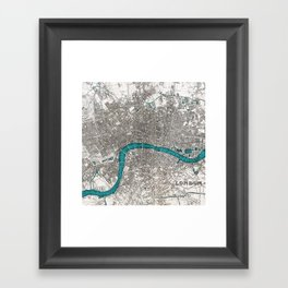 London on the Thames, Sepia and Teal Blue Vintage-style Map Framed Art Print