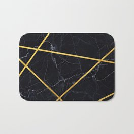 Black marble with gold lines Bath Mat