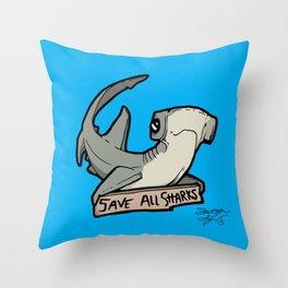 Save All Sharks (says Bonnie!) Throw Pillow