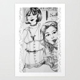 Black & White GingerDoodle Art Print