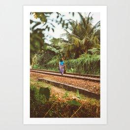 Woman in train track Art Print