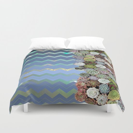 Opal & Succulent Chevron Pattern Duvet Cover