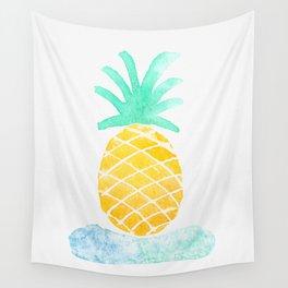 Watercolor Hawaiian Pinapple Wall Tapestry