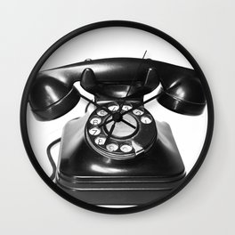 Telephone, Vintage, Black and White Photography Wall Clock