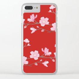 Cherry Blossom - Red Clear iPhone Case