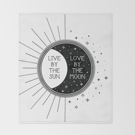 Live by the Sun Love by the Moon Throw Blanket