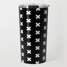 Criss Cross ((white on black)) Travel Mug