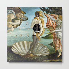 The 2nd Birth of Venus, Part Deux, in All Get-up satrical landscape painting by Sandro Botticelli Metal Print
