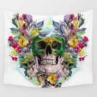 skulls Wall Tapestries featuring SKULLS by RIZA PEKER