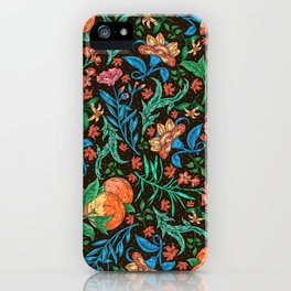 Asian-Inspired Floral Pattern With Orange Blossoms iPhone Case