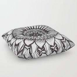 Sunflower Mandala - Black and White Floor Pillow