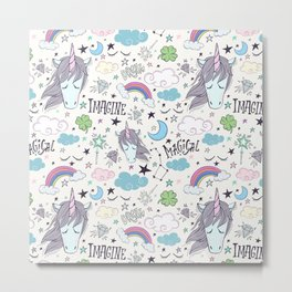 Magical Rainbow, Unicorn And Crystal Pattern Metal Print
