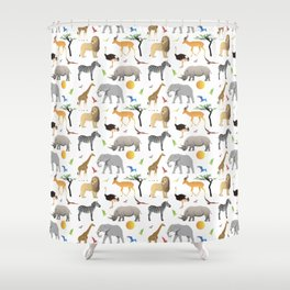 Safari Savanna Multiple Animals Shower Curtain
