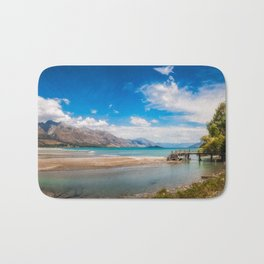 Unspoiled alpine scenery at Kinloch Wharf, New Zealand Bath Mat