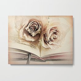 Roses on Book Library Art A113 Metal Print