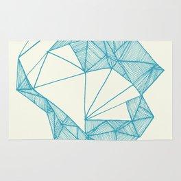 Tiny polar bear on iceberg in teal on gold geometric pattern Rug