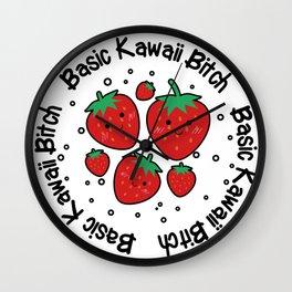 Basic Kawaii Bitch Strawberries Wall Clock