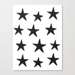 Star Pattern Black On White Canvas Print