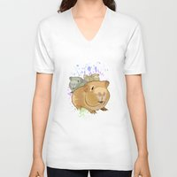 pigs V-neck T-shirts featuring Guinea Pigs by Adamzworld