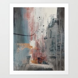 S'il Vous Plait: an abstract mixed-media piece in blue, gray, and gold by Alyssa Hamilton Art Art Print