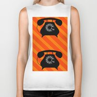 telephone Biker Tanks featuring telephone by vitamin