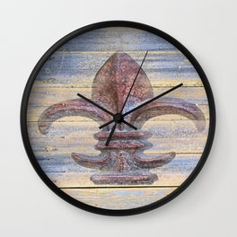 Fluer De Lis Beach Lake House Coastal Art A194 Wall Clock