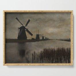 Windmills at Kinderdijk Holland Serving Tray
