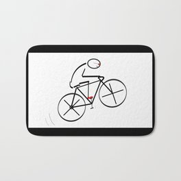 Stylized Bicyclist Bath Mat