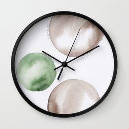 9|181104 Australian Leaf Green & Brown Earth Orbs | Watercolour Circle Abstract Geometrical Wall Clock