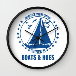 Boats and Hoes Logo Funny Wall Clock