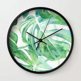 Monstera Leaf Pattern Wall Clock