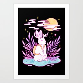 Plant Jackalope // Black Art Print