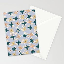 Dainty floral pattern on baby blue Stationery Cards