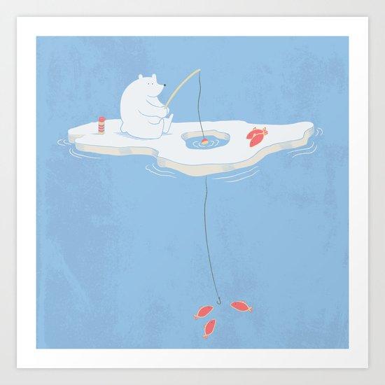 Gone Ice Fishin' Art Print