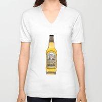 medicine V-neck T-shirts featuring Grandpa's Old Cough Medicine by Panda McFan