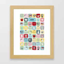Retro Coffee Pots and Cups Pattern Framed Art Print