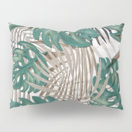 Tropical Leaves Nature Print Palm Fronds Pillow Sham